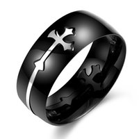 Wholesale Trendy Black Cross L Stainless Steel Rings for Men anel Fashion Party Male Metal Jewelry