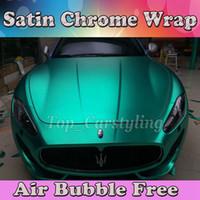 achat en gros de chrome métallique pellicule de vinyle-Métallique Chrome mat Tiffany vinyle envelopper avec bulle d'air libre mat wrap Film film coiffant 1.52 * 20M / Roll (5ftx66ft)