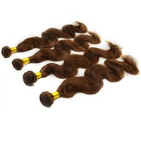 al por mayor cuerpo malasio medio de ondas de color marrón-Pelo marrón de la onda del cuerpo de Remy de la Virgen de la Virgen 8A brasileña india brasileña india del pelo de la porción el 100%