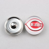 Wholesale Hot Sale MLB Ginger Snap Jewelry Cincinnati Reds Ginger Snap Button mm Glass Baseball Team Snap Charms For Snap Button Jewelry