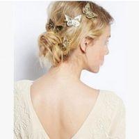 Wholesale Fashion Girls Headwear Shiny Metal Gold Hair Butterfly Clips Hairpin Barrette Women Hair Accessories Headpiece Jewelry