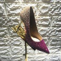 achat en gros de orteil pointu talons hauts-New Arrival Chaussures JC Romy pour chaussures habillées pour femmesNavy et Silver Glitter grossier Degradé Pointy Toe Pompes à talons hauts Wed Shoe for Bride Korean