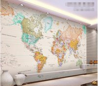 Wholesale d wallpaper custom mural non woven d room wallpaper Elegant light colour version of the map world photo wallpaper for walls d