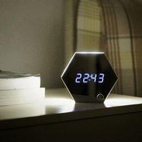al por mayor reloj de pared digital de alarma-Venta al por mayor-multifunción espejo de cristal despertador luces nocturnas Snooze luz-emisor termómetro Digital USB recargable reloj de pared
