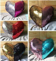 Wholesale Double Color Sequin Pillow Case Cover Heart Shaped Mermaid Pillow Cover Glitter Reversible Sofa Magic Double Reversible Swipe Cushion Cover