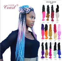 Wholesale 2016 Xpression synthetic braiding hair g Folded inch Ombre Two tone color Kanekalon jumbo Crochet braid Twist hair