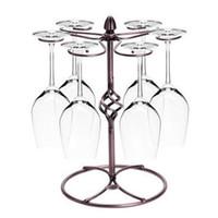 Precio de Bastidores de almacenamiento de vino-Artístico mostrador de cristal de vino titular, arte de hierro Stemware almacenamiento de almacenamiento de secado Hang 6 copa de vino, copa de vino titular de la Copa