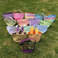 Wholesale Blanks Fabric Treat Or Trick Easter Buckets Easter Candy Holder Gift Tote in Colors Via FedEx
