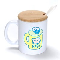 bamboo baby spoon - Yellow Baby Mug Coffee Milk Ceramic Cup Creative DIY Gifts Mugs oz With Bamboo cover lid Spoon S105