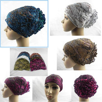 Wholesale 2016 Fashion New Style Flower lace Muslim Inner Hijab Caps Islamic Underscarf Hats Ninja Hijab with Beautiful Drill
