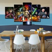 al por mayor marco de la agrupación-2016 Impresión impresa caliente de la lona del cartel del cartel de la impresión de la decoración de la habitación de los niños de la pintura del grupo del cartel de película de Star Wars Envío libre