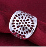 big bold jewelry - R569 silver finger Women Men party celebrity brand ring Hollow bold Big Jewelry Chic Flower Bohemia Ring Fine