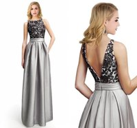 Wholesale 2017 New Elegant Formal Designer Evening Dresses Empire High Waist A Line Satin Prom Gowns Backless Lace Appliques Cheap Party Gowns CPS224