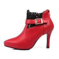 achat en gros de chaussures sexy en dentelle haut talon-Femmes Talons hauts Bottes Chaussures Femme Pointues Toe Sexy Dentelle Bureau Dames Boot Heel Talons Bottes EXDJ009