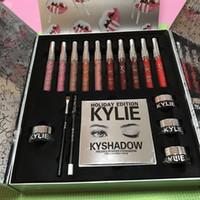 Wholesale Kylie Jenner Makeup Kylie Holiday Edition Big Box Set Lipstick Eyeshadow Eyeliner Set Kylie Lip Kit Christmas Gift Matte Liquid Lipsticks
