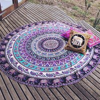 Wholesale Specical Round Indian Elephant Towel Scarve Fashion Mandala Tapestry Beach Picnic Throw Rug Blanket Polyester Cotton Beach Towel Yoga Mat