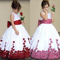 baby girl dresses special occasion - Taffeta Flower Girl Dresses for Wedding Bow Sash Ball Gown Girl Pageant Baby Girls Dresses Special Occasion First Communion Dresses
