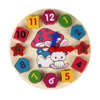 Juguetes de madera del juguete de madera del juguete de madera del juguete del reloj de la geometría de Digitaces del rompecabezas de 12 números Juguetes de los juguetes