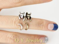 Wholesale Antique Silver Bronze Boho Brass Knuckle Girl s Burnished Rat Animal Wrap Rings Tiny Mid Finger Couple Mouse Ring For Women Men