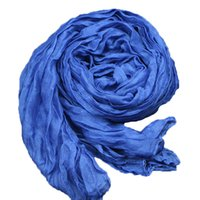 Grossiste-Mode 2016 Nouveau Denim Bleu Femmes hiver Coton Lin mélangé Solid Echarpes Foulards Fold Candy couleur Femme Echarpes