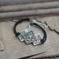 Wholesale As Seen on The Vampire Diaries inspired jewelry Turquoise stone vintage square leather bracelet woman bracelet charm
