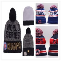 Wholesale 2017 HOT World Series Champs Baseball Beanie Chicago Cubs Beanies Winter Beanie Men Women Skull Caps Postseason Knit Cotton Hats