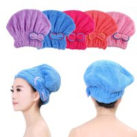 Wholesale Bowknot Home Textile Useful Dry Hair Hat Microfiber Hair Turban Quickly Dry Hair Hat Wrapped Towel Bathing Cap W1