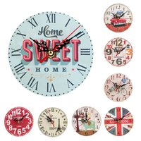 Wholesale Small CM Vintage Style Silent Antique Wood Wall Clock Retro Home battery wall hanging clocks Living room study room decoration