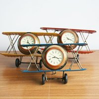 Metal airplane clock - Retro Shabby Metal Clock Plane Airplane Home Desk Table Clock Ornament Color