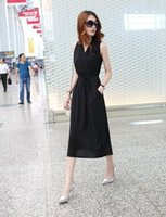 Wholesale New Arrival Fashion Korean Slim Sweety Princess Female Temperament Tide Elegance V Neck Sexy Strapless Chiffon Bohemia Slim Dress