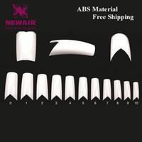 abs nail tips - Long False Nails V Shapes French Nail Tips White ABS Fake Nail Tips sizes Maincure DIY Supplies Beauty