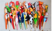 Wholesale 100pcs Handmade Ballpoint Pen Lovely Artificial Wood Carving Animal ball pen Creative Arts blue pens gift New many color