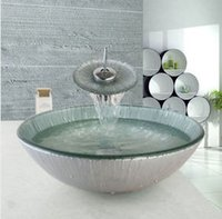 bathroom basins uk - UK Bathroom cloakroom washing combo set TEMPERED glass Basin Sink vessel Washing Bowl with waterfall brass mixer Tap