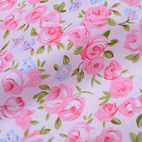 Wholesale Small Pink Blue Flowers Printed Cotton Fabric for Quilting Children Bedding Pillow Case Twill Cloth for Sewing by Meter