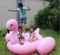 Wholesale 195 cm Giant Inflatable Flamingo Pool Toy Swimming Float Swan Cute Ride On Pool Swim Ring For Summer Holiday Fun Party