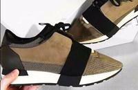 Precio de Designer brand name men shoes-El más nuevo Nombre del diseñador Marca Hombre Mujer Zapatos Pisos Chaussure Moda Desnudo Negro Malla De Cuero Encaje hasta Trainer Zapatos Casual