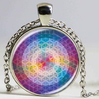arts amulets - 2016 Flower Of Life Art Photo zen Pendant Necklace charms Glass Cabochon Necklace Yoga Jewelry Lucky Amulet
