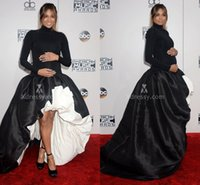 balls making music - Ciara Black Pregnant Evening Gowns Long Sleeve High Low Red Carpet Ruffles Satin High Neck Long Sleeve American Music Celebrity Dresses