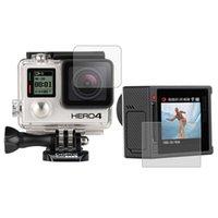 Precio de Plata hero4 gopro-Protector ultra claro de la pantalla del LCD + cubierta película cristalina del protector de la lente para la cámara de plata de GoPro HERO4