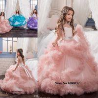 achat en gros de conceptions robe pour les enfants-Nouvelle arrivée Glitz Pageant robes Ball Gown Crystal Kids Frock Designs Première communion robe pour les filles les enfants Lovely Robes de soirée