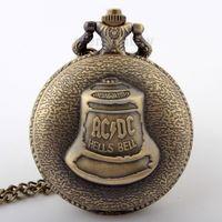bell pocket watch - HotAntique Steampunk Bronze AC DC Hells Bell Pattern Pocket Watch With Pendant Chain Flower Craving Back Watch Men Gift P290