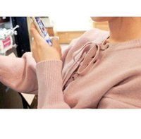 Wholesale 2016 han edition dress new winter sweater sweet pure color easy round neck long sleeve pullovers female qiu dong