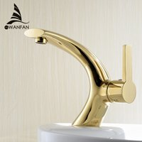 Wholesale modern washbasin design Bathroom faucet mixer Gold Brass Hot and Cold Water taps for basin of bathroom XBT