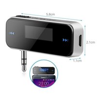 Wholesale 3 mm Electronic In car Car FM Transmitter Wireless LCD Display Stereo Audio Tuner Player for iPhone s iPod Touch Galaxy S6 MP3 MP4