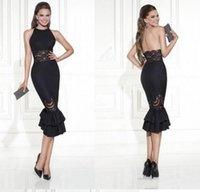 Nuevos vestidos de noche cortos del A-line del diseño que abren detrás vestido negro del cordón del partido del baile de fin de curso de los vestidos de fiesta Envío libre de la venta caliente