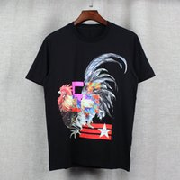big points - 2017 fashion brand Mens T shirts Men Short Sleeve Shirt Casual tshirt Tee Tops Mens with Short sleeves Five pointed star big rooster printi