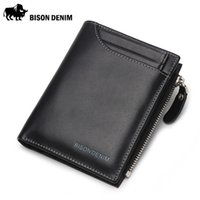 american exteriors - Bison Denim Genuine Leather with ID Holder Driver License Exterior Zipper Coin Pocket Wallet N4370