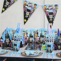Wholesale for20people use super heroe theme party paper plate cups napkin banner map for kids birthday party s disposable decoration
