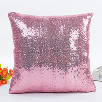al por mayor cojines de diseño-Funda de almohada Home Print Throw Sofá Funda de cojín Funda de almohada sólida Lentejuela Glitter Doble Diseño Inicio Sofá Cama Car Magic Mermaid Pillow Case