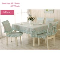 Wholesale 9 Piece Romantic Rural Table Cloth Tea Table Cloth Chair Cloth Chair Cushion Lace Flower Rose Bow Tablecloth Sets Green